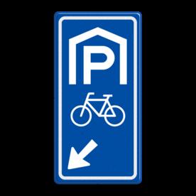Parkeerroutebord E8f fietsen met pijl