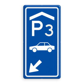 Parkeerroutebord E8 auto overdekt met nummer en pijl pijl