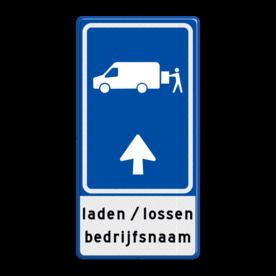Parkeerroutebord E8p laden en lossen busje met pijl en bedrijfsnaam