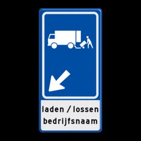 Verkeersbord RVV E07 met pijlrichting en tekst