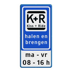 Informatiebord KISS & RIDE - halen en brengen + ondertekst - L52b