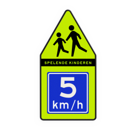 Spelende kinderen bord 500x1000mm met adviessnelheid