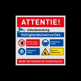 Werfbord voor bouwplaats of bouwterrein - Veiligheidsinstructies + logo