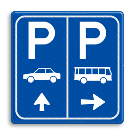 Parkeerbord E8+E8d auto en bus met aanpasbare pijl