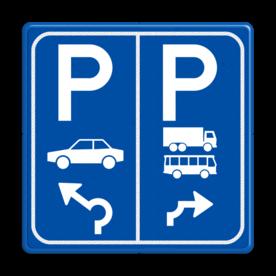 Parkeerbord E8+E8a auto en vrachtwagen+bus met pijl