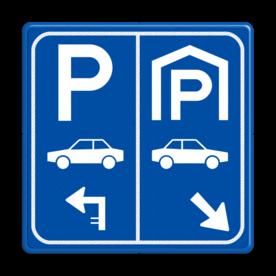 Parkeerbord E8 auto parkeergarage met aanpasbare pijl
