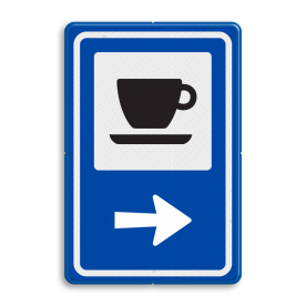 Routebord BW101 (blauw) - 1 pictogram met aanpasbare pijl