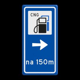 Routebord BW101 (blauw) - 1 pictogram met aanpasbare pijl en afstand