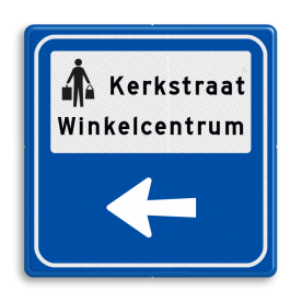 Routebord BW101 (blauw) - 1 picto en tekst met aanpasbare pijl