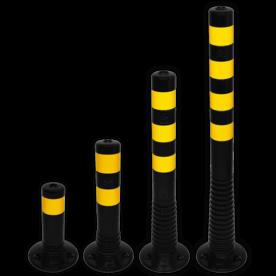 Kunststof flexibele afzetpaal zwart geel Ø80mm - overrijdbaar