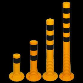Kunststof flexibele afzetpaal geel zwart Ø80mm - overrijdbaar