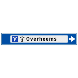 Verwijsbord object (blauw) - met 2 pictogram, 1 regel tekst en pijl