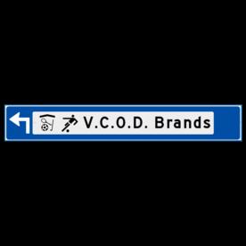 Verwijsbord object (blauw) - met 2 pictogrammen, 1 regel tekst en pijl