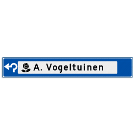 Verwijsbord object (blauw) - met 1 pictogram, 1 regel tekst en pijl