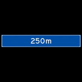Verwijsbord object (blauw) - met afstand en eventueel pijlen