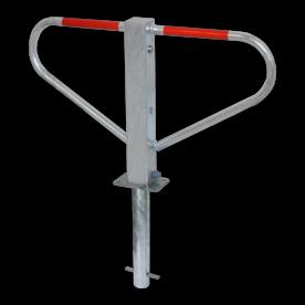 Antiparkeerbeugel - verzinkt of wit - neerklapbaar -  grondstuk - cilinderslot