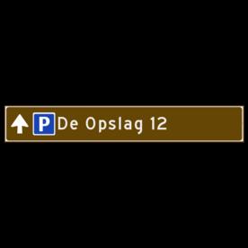 Verwijsbord toeristisch (bruin) - met 1 pictogram, 1 regel tekst en pijl