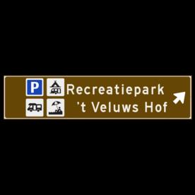 Verwijsbord toeristisch (bruin) - met 4 pictogrammen, 2 regels tekst en pijl