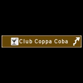 Verwijsbord toeristisch (bruin) - met 1 pictogram, 2 regels tekst en pijl