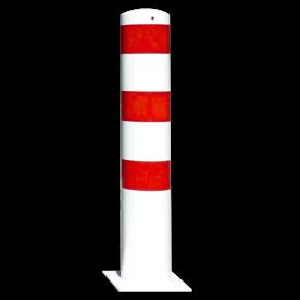 Rampaal Ø152x1000mm met voetplaat - wit/rood of verzinkt