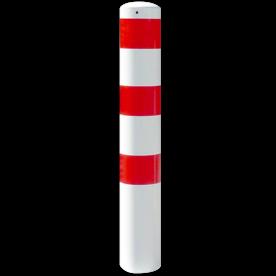 Rampaal Ø152x1500mm met grondmontage - wit/rood of verzinkt