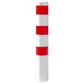 Rampaal Ø152x2000mm met grondmontage - wit/rood of verzinkt