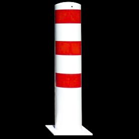 Rampaal Ø193x1000mm met voetplaat, verzinkt of wit/rood