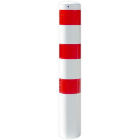 Rampaal Ø193x2000mm met grondmontage, verzinkt of wit/rood