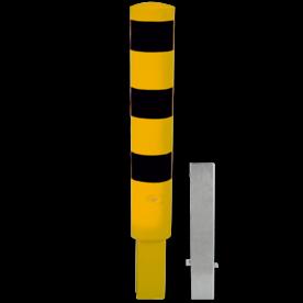 Rampaal Ø193x1000mm wegneembaar met slot - geel/zwart