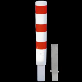 Rampaal Ø152x1000mm wegneembaar met slot - wit/rood