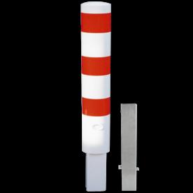 Rampaal Ø193x1000mm wegneembaar met slot - wit/rood