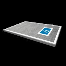 Wegmarkering mindervalide - symbool rolstoel blauw wit