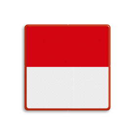 Dagteken rood boven wit - het vaarwater is aan die zijde vrij, maar je mag geen hinder veroorzaken