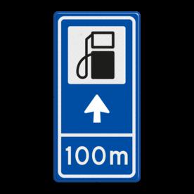 Verkeersbord RVV BW101Sp10 - Pompstation met aanpasbare pijlrichting en afstandsaanduiding