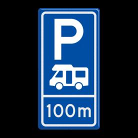 Parkeerroutebord E8n camper met afstandsaanduiding