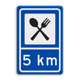 Routebord BW101 (blauw) - 1 pictogram met afstand