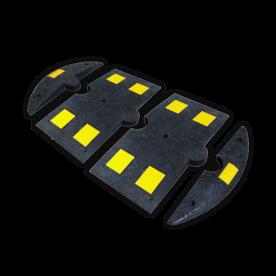 Verkeersdrempel rubber < 20km/u - middenstuk - 800x400x50mm - geel/zwart