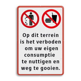 Verkeersbord verboden te eten en drinken - afval weggooien