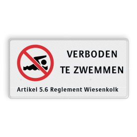 Verkeersbord RVV C01 zwemmen verboden - 3txt-ondertekst
