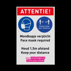 Bord mondkapje dragen verplicht (face mask required) en afstand houden (keep distance)