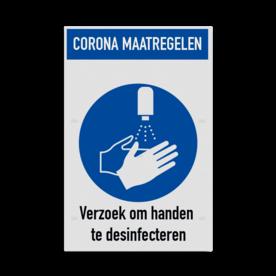 Bord corona maatregelen - handen desinfecteren verplicht