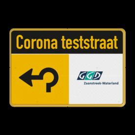 Informatiebord CORONA TESTSTRAAT + bedrijfsnaam/logo - verwijzing