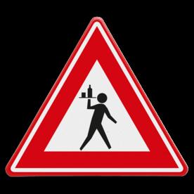 Verkeersbord - waarschuwing voor overstekende ober