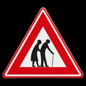 Verkeersbord - waarschuwing voor overstekende ouderen