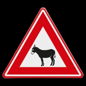 Verkeersbord - waarschuwing overstekende ezels