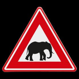 Verkeersbord - waarschuwing overstekende olifanten