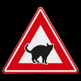 Verkeersbord - waarschuwing overstekende katten