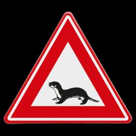 Verkeersbord - waarschuwing overstekende otter