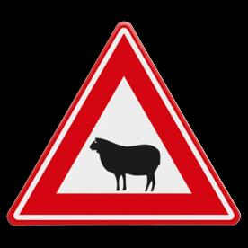 Verkeersbord - waarschuwing overstekend schaap