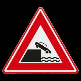 Verkeersbord RVV J26 - Vooraanduiding kade of rivieroever
